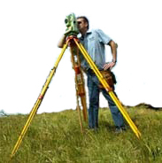 Surveyor using surveying equipment
