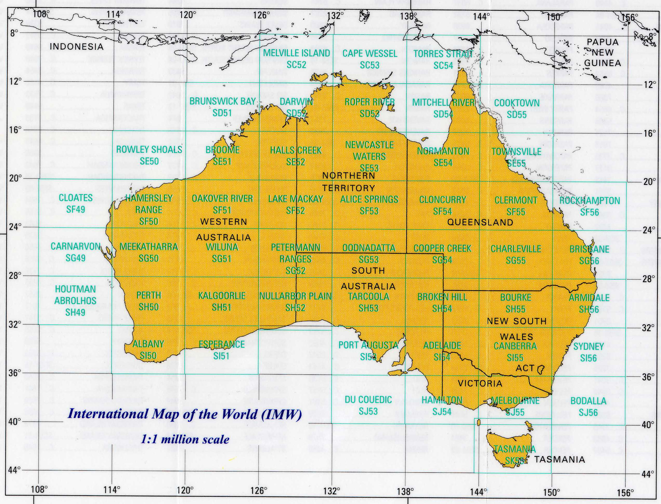 Index for the IMW maps which cover Australia