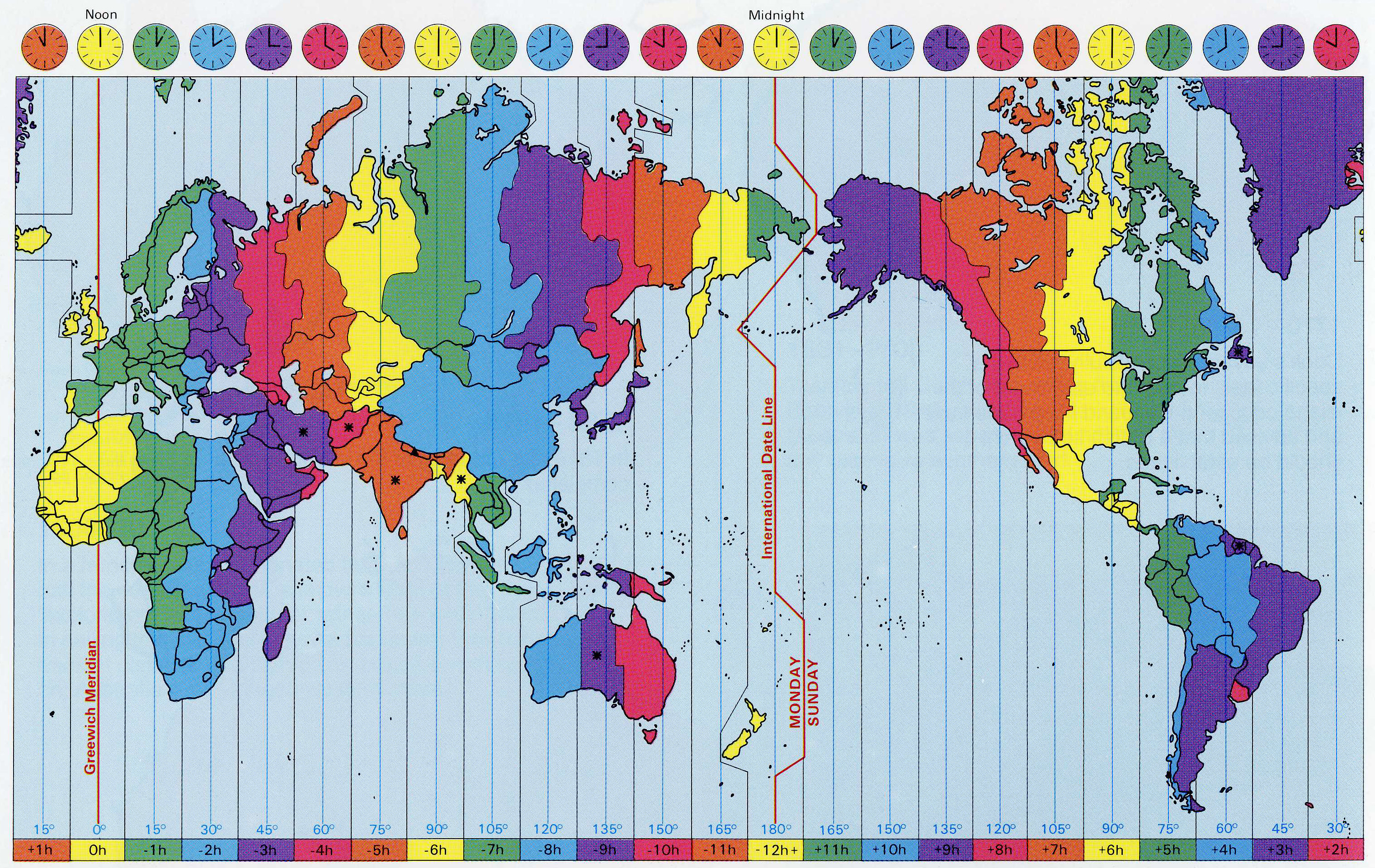 International map of time zones